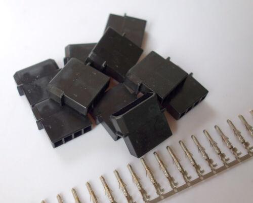 20 sets Black DIY PC Power Connector 4P 4 Pin Male Molex Mod Crimp Plug Pins Pin