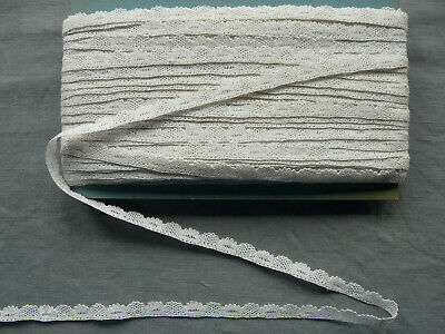 French Antique Bobbin Lace Trim Cream Cotton Puy en Velay Vintage By the yard