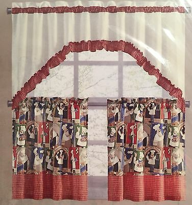 Tier and Swag Set 24L Fat Chef Pizza Italian Restaurant Kitchen Curtains