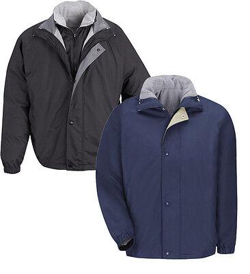 Red Kap Men/'s Work Jacket /& Vest Reversible Zip IN//OUT Black JN30BK NEW