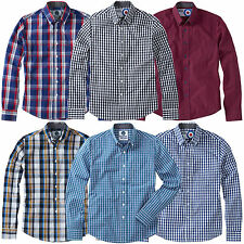 Charles Wilson Men's Cotton Gingham Check Long Sleeve Casual Shirt Top New 2016