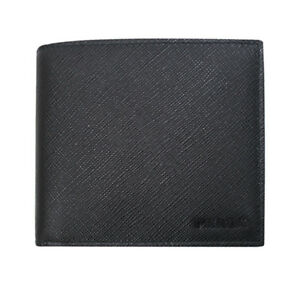 fbbf26339c02 Image is loading PRADA-SAFFIANO-Black-Calf-Leather-Mens-Bifold-Wallet-