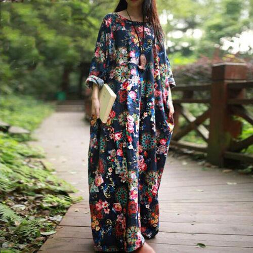 Vintage Womens Long Sleeve Loose Floral Print Hippie Long Maxi Dress Kaftan Tops