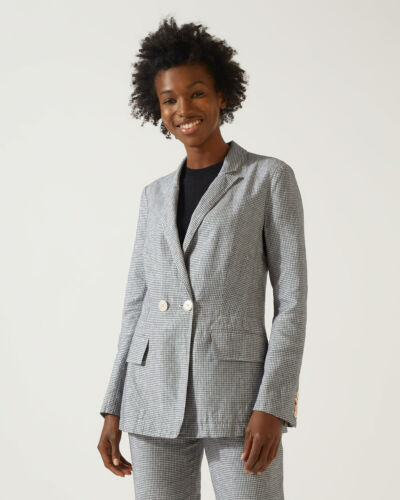 Jigsaw Check Irish Linen Blazer Womens New Black Monochrome