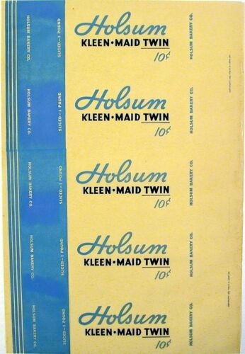 Vintage bread wrapper HOLSUM KLEEN MAID TWIN dated 1935 unused new old stock