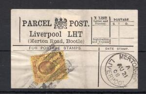 Edward-VII-3d-utilise-sur-Parcel-Post-Label-Liverpool-Merton-Road-Bootle