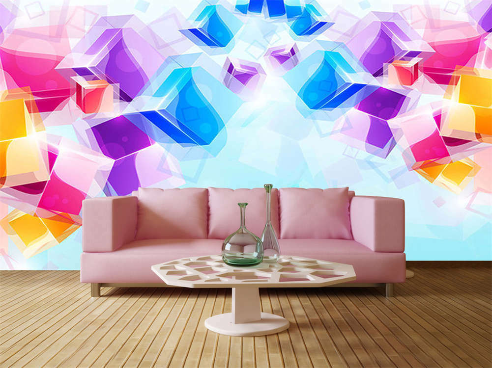 Farbeful Rainbow Square 3D Full Wall Mural Photo Wallpaper Print Home Kids Decor