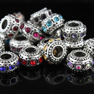 Vintage-Rhinestone-Crystal-Silver-Charms-Spacer-Beads-Fit-Women-DIY-Bracelet-New