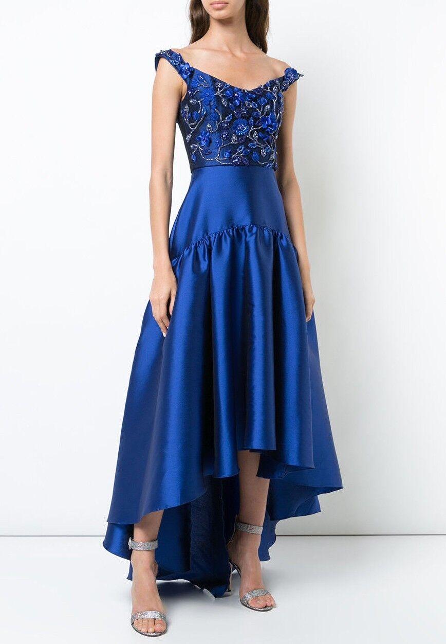 Neu Marchesa Notte Off Schulter Hoch Niedrig Kleid Blau Wulstig 3D 0 2 6 8