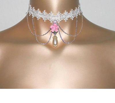 Halsband Kropfband Choker wollweiß Hochzeit victorianisch Burlesque Tropfen Neu