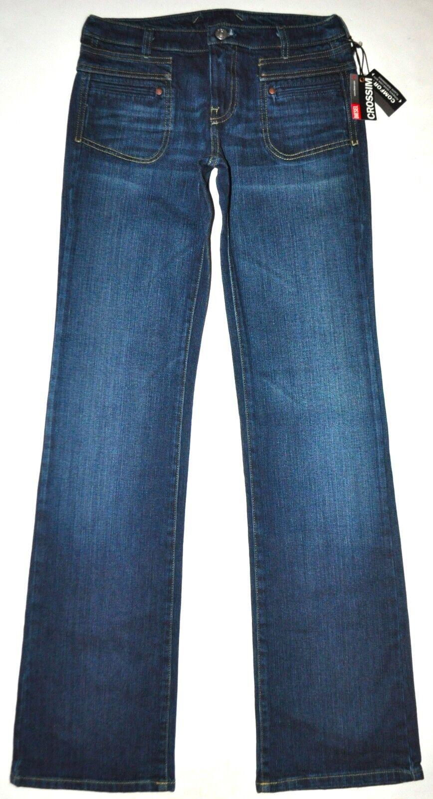 NEW Diesel Women's Darker bluee Crossim Comfort Boot Jeans 26 X 33.5 Stretch Long