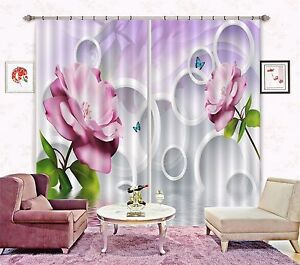 3D Flower ring8 Blockout Photo Curtain Printing Curtains Drapes Fabric Window AU