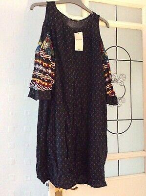 (ref # B) Donna Papaya Cold Shoulder Dress Size 12-mostra Il Titolo Originale