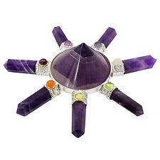 Energie-Generator Amethyst lila Pyramide 7 Punkte Edelsteine geistiges Geschenk