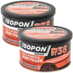 2x U-Pol Davids Isopon P38 Easy Sand Car Body Filler Scratches Dents Repairs