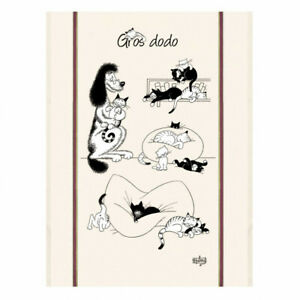 Torchons-amp-Bouchons-French-Cute-Cats-Chats-DUBOUT-Art-Kitchen-Towel-Nap-O-039-Clock