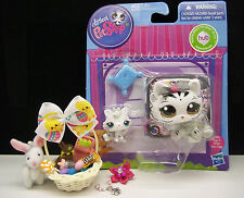 LITTLEST PET SHOP MOM & BABY #3585 3586 WHITE TIGER EASTER BASKET ACCESSORIES