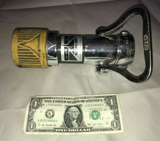 ELKHART BRASS MFG, SELECT-O-MATIC FIRE HOSE NOZZLE, SM-10, 100 GPM,  FIREFIGHTER