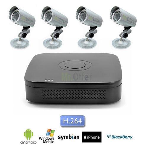 Kit Videosorveglianza 8 canali DVR HD 500GB 4 telecamere Sony CCD 36 led 1200TVL