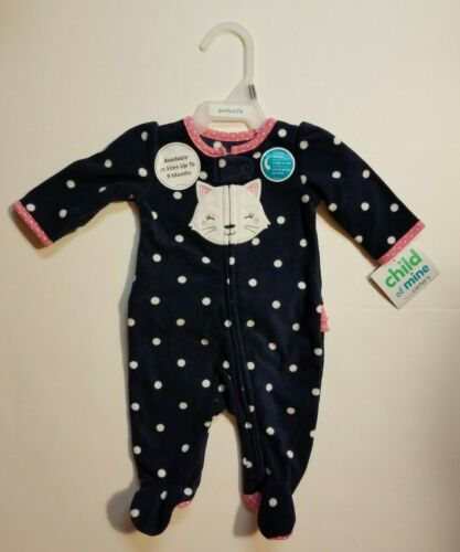 Carter/'s Child of Mine Girl/'s Infant Baby Footed Sleeper NB 0-3 3-6 M NWT Navy