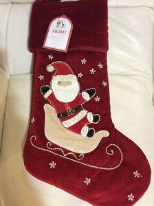 Pottery Barn Kids Christmas Luxe Velvet Stocking Red Santa