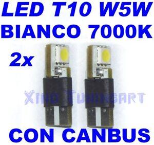 COPPIA-LED-SMD-BIANCO-FREDDO-7000K-T10-W5W-RESISTENZE-Canbus-CHECK-CONTROL-12V
