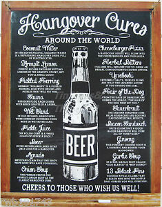 Hangover Cures Around The World Tin Sign Metal Beer Poster Home Bar
