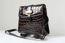 Vintage Clarks brown patent mock croc crocodile cross body shoulder bag handbag