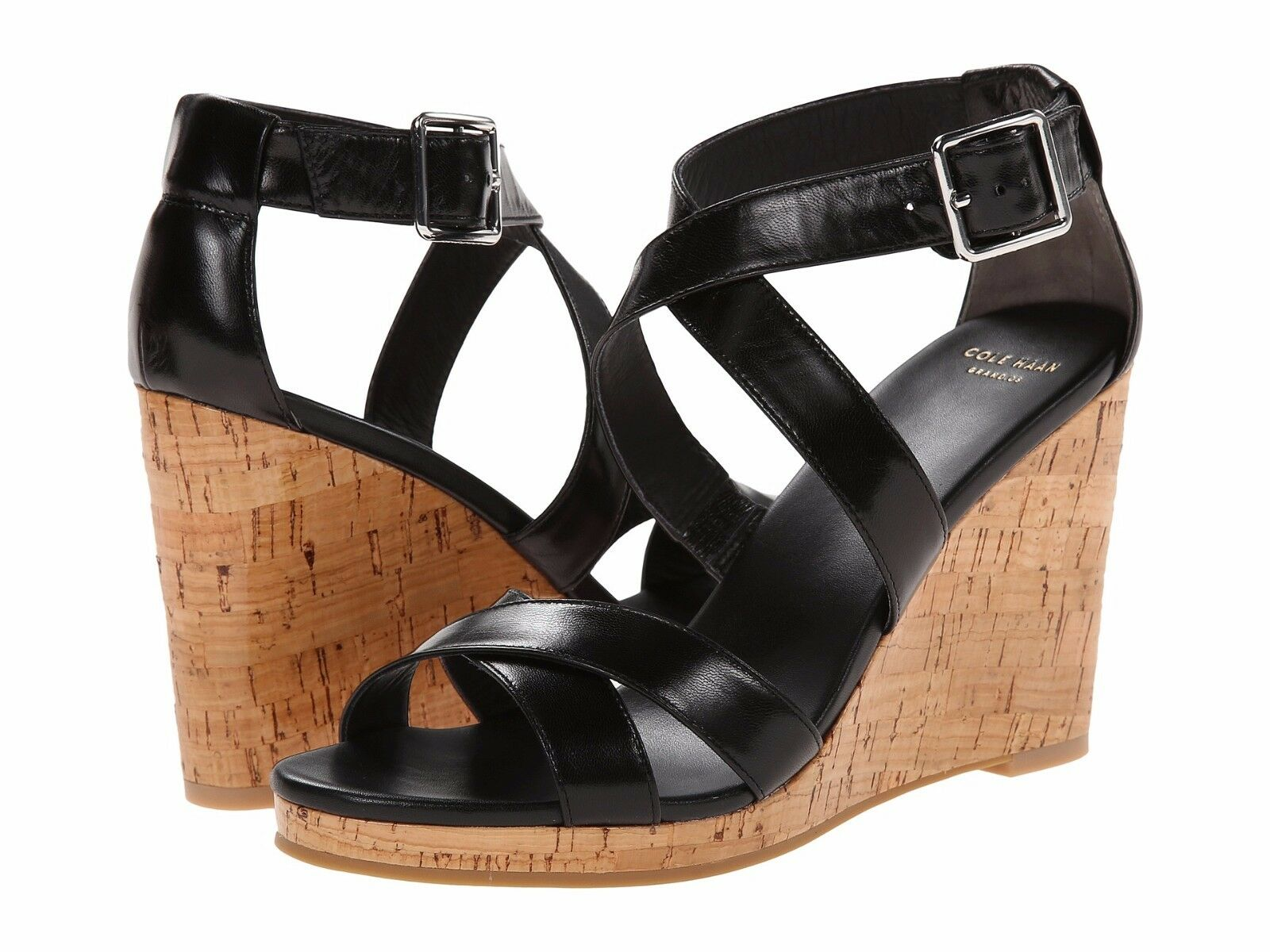 Cole Haan Jillian Black Leather Wedge Sandals Size 9.5