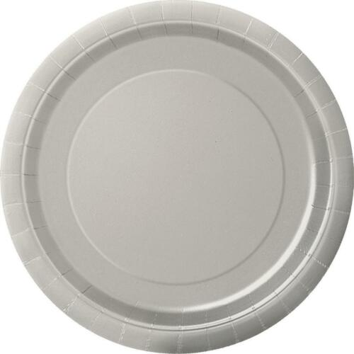 Round Paper Plates Plain Party Tableware Events Christmas Wedding Occasion