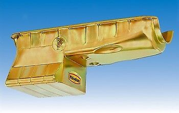 Milodon Engine Oil Pan 30950; Street//Strip Low Profile 7qt Gold Iridited for BBC