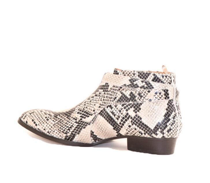 Mens  Genuine Leather Pointed Toe Tira su Snake Ankle stivali scarpe Chelsea scarpe   Negozio 2018