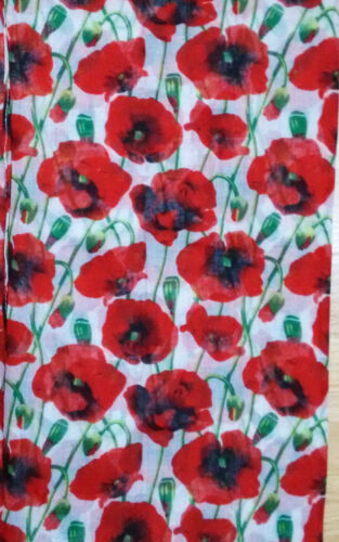 POPPY PRINT SCARF Ladies Womens Respect Red Poppies Christmas Floral Scarves