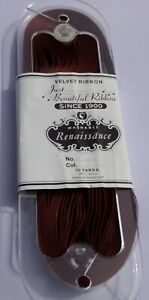 """10 yards 3//8/"""" Brown color Velvet Ribbon Fabric Made in Switzerland"""