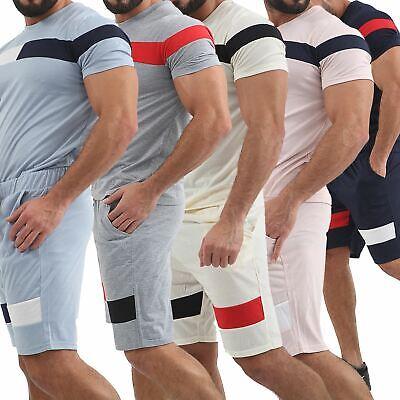 Angemessen Mens Pyjamas Set Lighweight Top Shorts Set T Shirt Pants Summer Pjs Lounge Wear