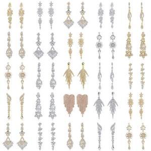 New-Fashion-Women-Crystal-Long-Dangle-Drop-Earrings-Bridal-Wedding-Party-Jewelry