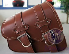 Brown PU solo Leather Left Side saddleBag Saddle Bag for Harley Sportster 883