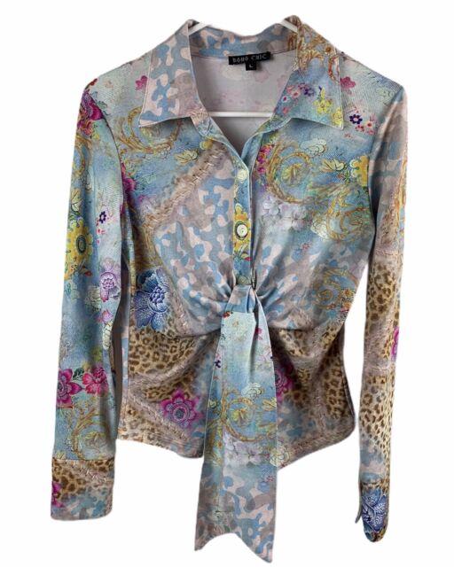 Boho Chic Women's Sz L Button Up Tie Front Blouse Leopard Floral Stretch L/S