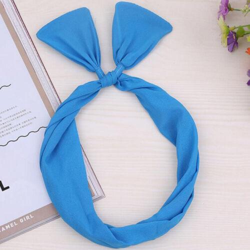 Soild Rabbit Bunny Ear Ribbon Wire Headband Scarf Tie Head Bow Hair Accessories