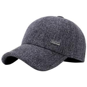 AM  HK- Men Winter Wool Earflap Baseball Hat Outdoor Sports Earmuffs ... 7e90b86ef431