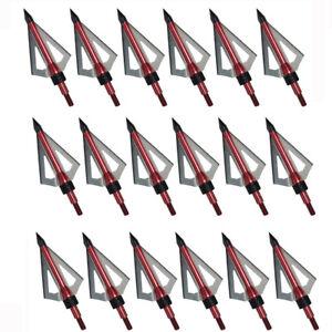 12-24pcs-Archery-Broadheads-100-grain-3-blade-hunting-Arrow-Heads-Screw-Tips-US