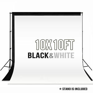 10 x 10 ft Photography Backdrop Stand Background Photo Kit Muslin Black & White 699910327347