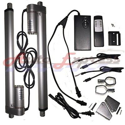 "2 Linear Actuators 10"" Inch Stroke 12v 110v Power Supply With Remote Bracket Set"