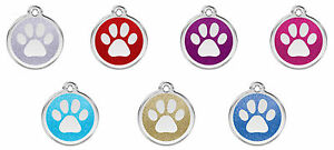 Engraved-Personalised-Dog-Cat-ID-Tags-Disc-Glitter-Paw-Print-Red-Dingo-XPP