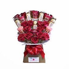 Yankee Candle Bouquet Gift with Silk Red Roses & Ferrero Rocher Chocolates