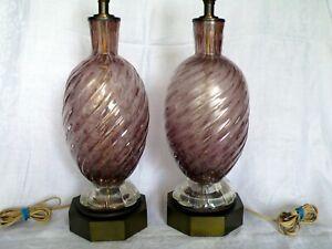 Mid-Century-Modern-Pair-Murano-Bullicante-Purple-Art-Glass-Seguso-Barovier-Lamps