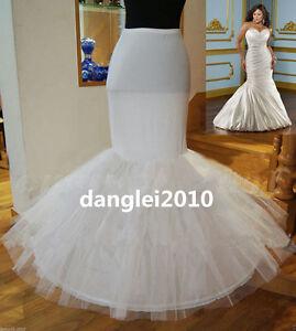 Image Is Loading 1 Hoop Fishtail Petticoat Mermaid Bridal Wedding Underskirt