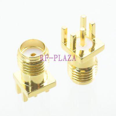 10pcs Connector SMA female jack solder PCB clip edge mount Straight