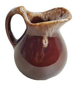 Brown-Drip-Glaze-Pitcher-Creamer-Vase-Stoneware-Pottery-Primitive-4-6-Tall