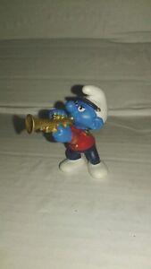 Bd-figurine-schtroumpf-musicien-2001-trompette-peyo-schleich-SMURF-PUFFI